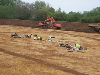 Digging by Oxford Archaeology in progress at Horcott, Gloucestershire
