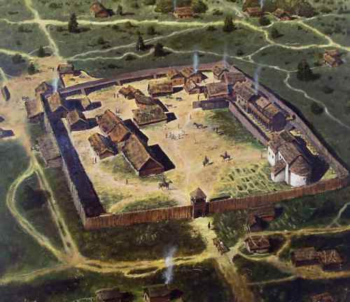 Reconstruction drawing of a 'prince's court' within the Pohansko settlement complex