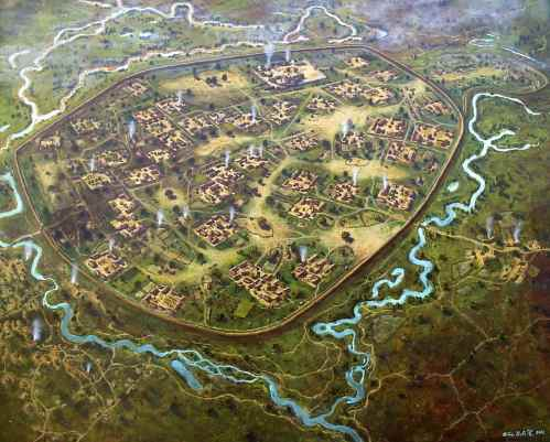 Reconstruction drawing of the Moravian settlement at Pohansko