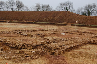 Foundations of a Roman farmhouse at Horcott, Gloucestershire