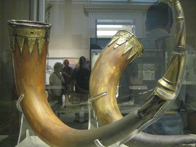 Drinking horns from the Anglo-Saxon burial mound at Taplow on display at the British Museum