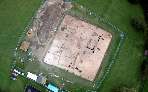 Excavation of the so-called great hall at Lyminge, Kent