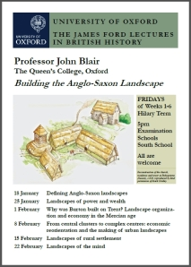 Poster for John Blair's Ford Lectures, 2013