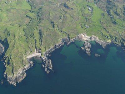 Aariel view of the coats around Swordie Bay, Ardnamurchan