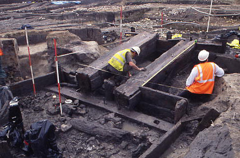The eighth-century tidal mill at Ebbsfleet, under excavation
