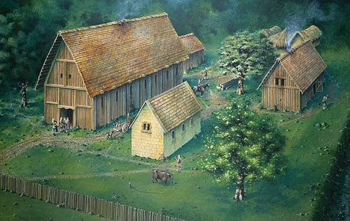 Reconstruction drawing of the Anglo-Saxon site at Cheddar
