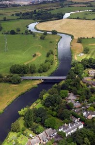Bailey Bridge, crossing the River Trent at Walton, near Burton-on-Trent, viewed from the air