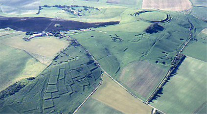 Historic field systems visible in the landscape on Burderop Down, Wiltshire