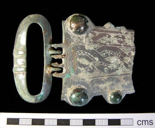 A fragment of a Frankish copper-alloy buckle found at Hollingbourne, Kent