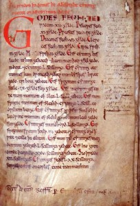 The first page of the Laws of King Æthelberht as preserved in the Textus Roffensis at Rochester