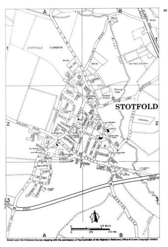Map of present-day Stotfold, Bedfordshire