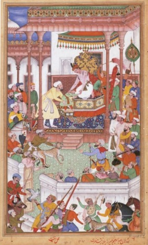 A diplomatic guest being received at the court of the Mughal Emperor Akbar