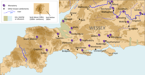 Map of Anglo-Saxon Wessex c.900