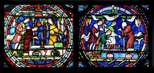Juxtaposed thirteenth- and nineteenth-century stained-glass depictions of pilgrims at the shrine of St Thomas, Canterbury, from the cathedral there