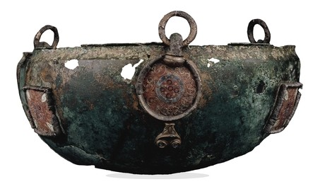 The Byzantine-style hanging bowl from the Sutton Hoo treasure