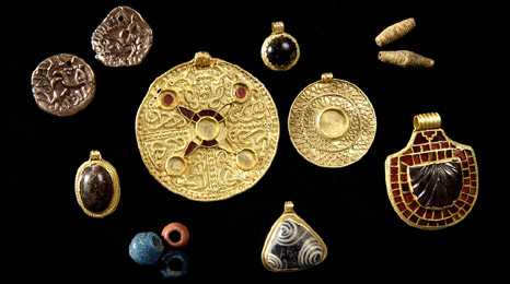The treasure from the female burial at Street House Farm, Cleveland, found 2011