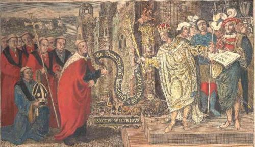 A copy by T. King of a 1519 painting by Lambert Barnard of King Cædwalla of Wessex making a land-grant to Bishop Wilfrid in 662