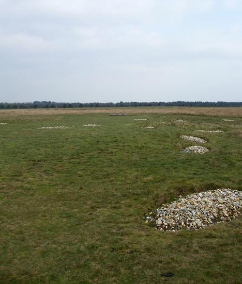 Locations of execution burials at Sutton Hoo marked out in the ground