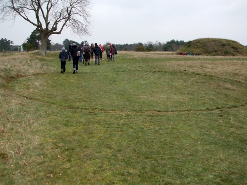 Marked hypothetical perimeter of one of the burial mounds at Sutton Hoo
