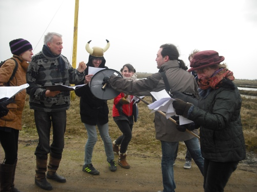 Recitation and reenactment of the Battle of Maldon by a small number of weatherproofed academics with scripts on the actual Maldon shoreline