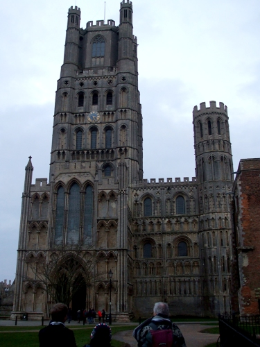 West-work of Ely Cathedral in low evening light