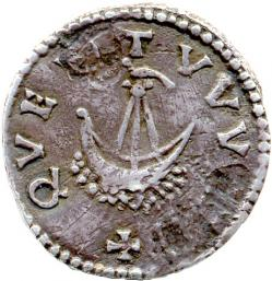 Reverse of a silver denier of Charlemagne struck at Dorestad now on display in the Fitzwilliam Museum, Cambridge