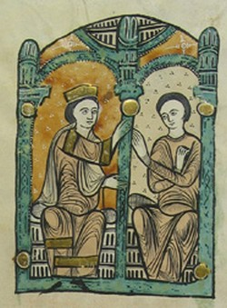 Depiction of Count-Marquis Ramon Berenguer I of Barcelona and Countess Almodis de la Marche from the Liber Feudorum Maior
