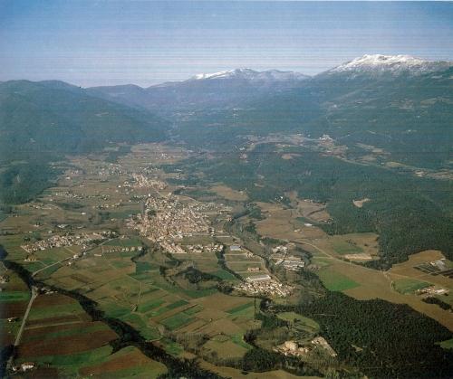 An aerial view of Sant Esteve and Santa Maria de Palautordera, Girona