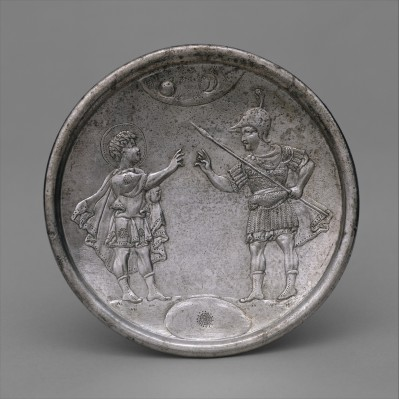 A Byzantine silver plate showing David confronting his brother Eliab, thought to have been made in celebration of Heraclius's victory over Persia, now in the Metropolitan Museum of Art