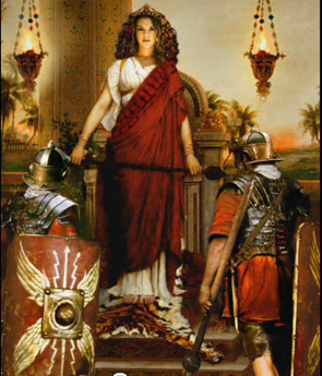 Modern portrayal of Queen Mavia receiving the obeisance of two Roman legionaries