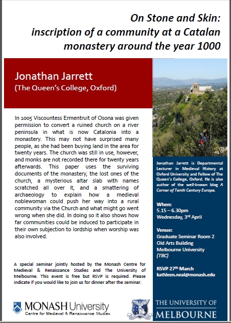Poster for my appearance at the Monash/Melbourne seminar