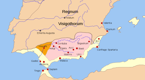 A map of the Byzantine province of Spain as it is usually and fully imagined, from Wikimedia Commons
