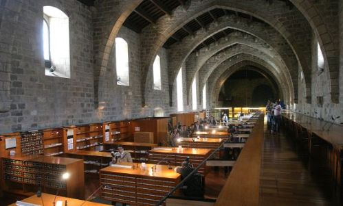 Inside one of the reading rooms at the Biblioteca de Catalunya, once upon a time the fifteenth-century Hospital de Santa Creu