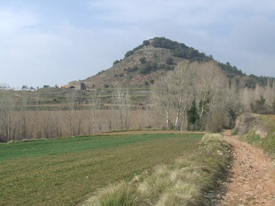 The hill on which the Castell de Clarà in Moià still very slightly stands