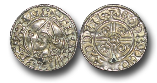 Pointed Helmet type silver penny of King Cnut of England, struck at London by the moneyer Godric, 1023x1029