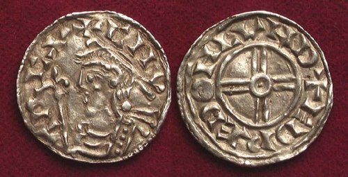 Obverse and reverse of Short Cross penny of King Cnut, 1029x1036, probably struck by Eadred at London