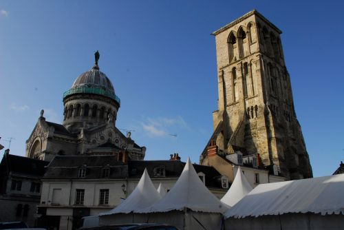 The medieval Tour de Charlemagne and modern basilica of St-Martin in the centre of Tours