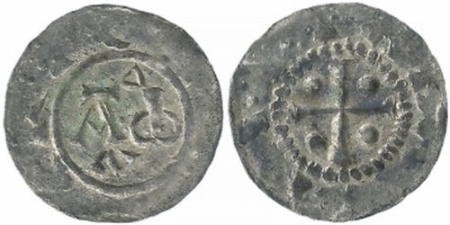 Obverse and reverse of a silver penny of King Henry II of Germany struck at Deventer in the modern Netherlands, 1002x1014