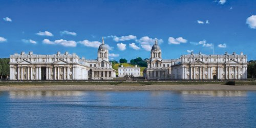 The Old Royal Naval College, Greenwich, viewed from the River Thames