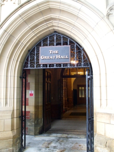 Entry to the Great Hall on the main camopus of the University of Leeds