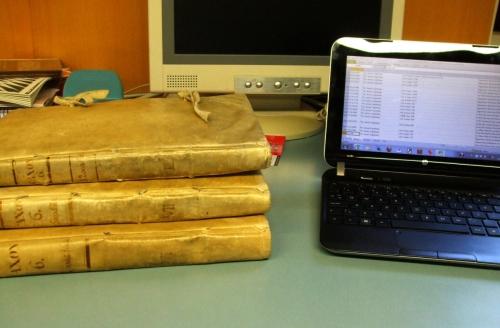 Three volumes of Calaix 6 of the Arxiu Capitular de Vic
