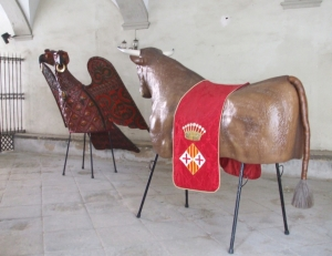 Animal maquettes for a Dans dels Gegants in the portico of the Catedral de Vic