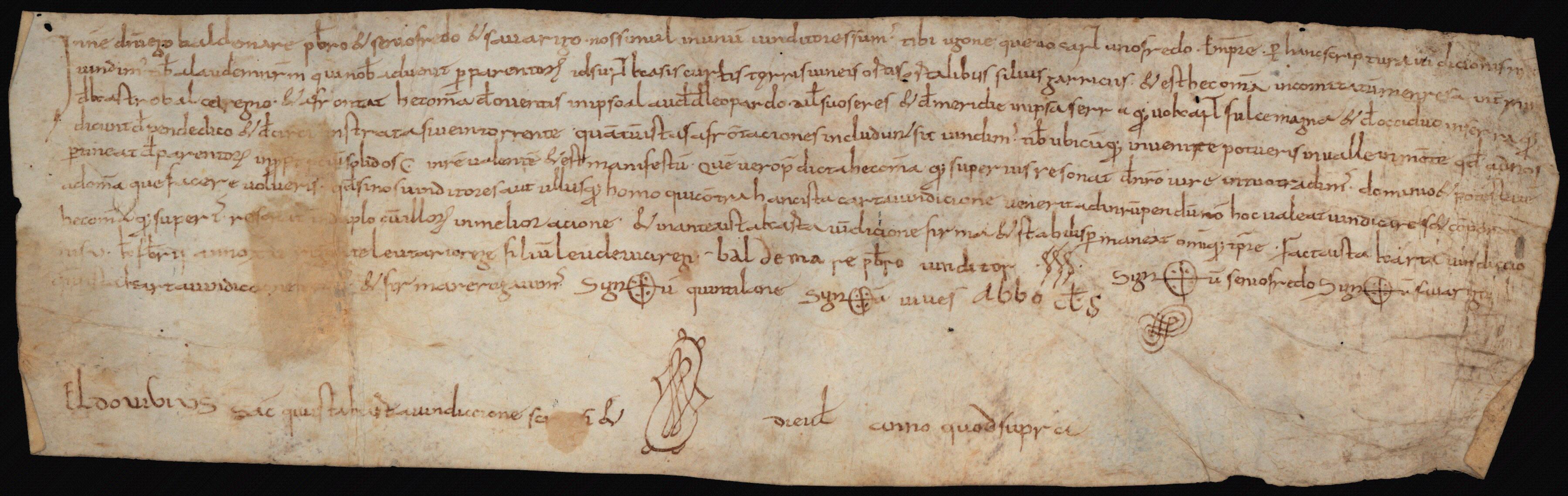 Biblioteca de Catalunya, pergamins 3096, bearing Baldemar's signature in the middle of the witness list