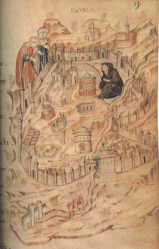 Manuscript depiction of medieval Rome as widow during the period of the Avignon Papacy