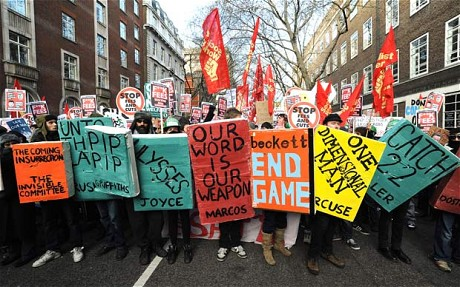 Student protests in London 2011 behind book-cover shields