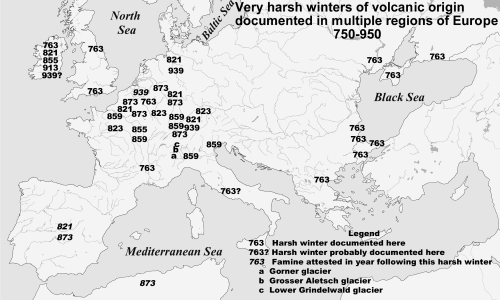 Map of volcanically-linked climate anomalies of the Frankish period with dates