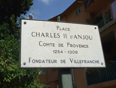 Streetsign in the Place de Charles II d'Anjou, Villefranche-sur-Mer