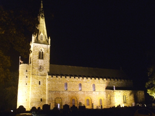 Night shot of All Saints Brixworth from the south