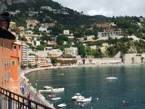 View of the bay and town of Villefranche-sur-Mer, seen from the approach to the Citadelle