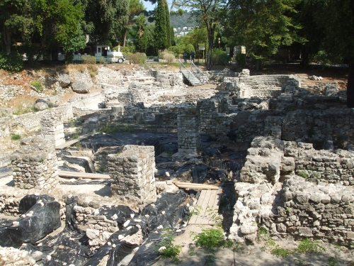 Ruins of the supposedly tenth-century cathedral of Nice, partly excavated